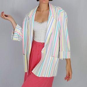 80's pastel striped blazer